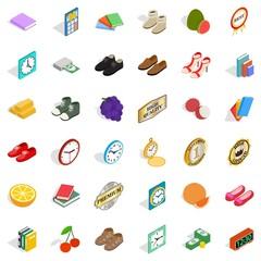 Delicacy icons set, isometric style