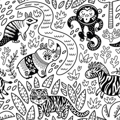 Vector seamless tropical pattern with decorative animal characters in outline