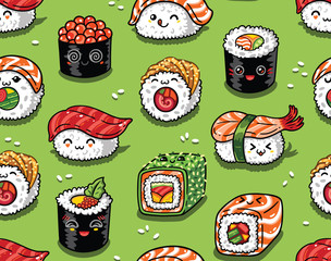 Sushi and sashimi seamless pattern in kawaii style. Vector illustration