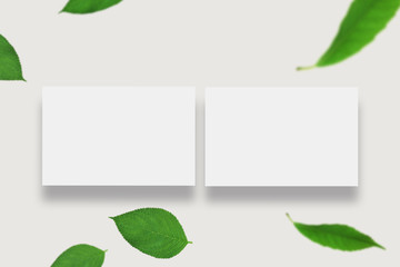 Two Horizontal Business card Mock-Up. White Business Card Blank Design Template. Top View, Isolated on White Background.