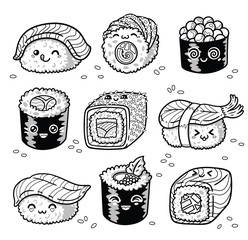 Kawaii rolls and sushi manga cartoon set in outline