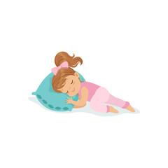 Adorable little girl sleeping on her bed cartoon character vector illustration