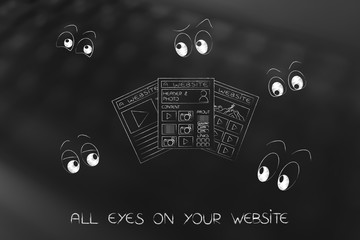 webpages surrounded by cartoon eyes staring