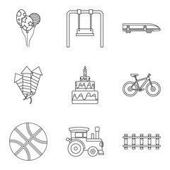 Summer toy icons set, outline style