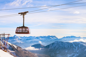 Cable Car and snow mountains panorama of French Alps near Chamonix, France. Wall mural