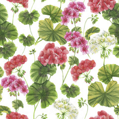Hand drawn watercolor botanical pattern. Seamless background with vibrant geranium blossom. Natural decorative wallpapers, repeated colorful flowers