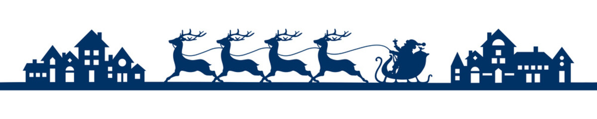 Banner Running Christmas Sleigh City Blue