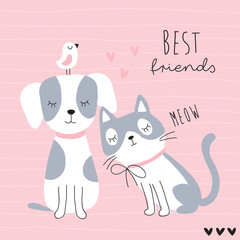 cute best friends cat, dog and bird vector illustration