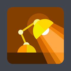 Desktop lamp concept background, cartoon style