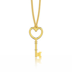 3D illustration isolated yellow gold decorative key in the form of a heart necklace on chain with reflection