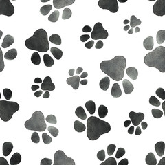 Watercolor vector seamless pattern with the imprint of dog paws.