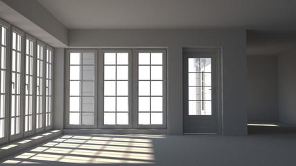 Empty white room, interior 3d illustratio and sunlit window doors waiting for decoration