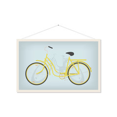 Picture with yellow bicycle isolated