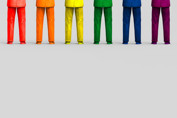 3d rendering. a row of colorful suit business men on gray background. LGBT or sexuality equality in working concept
