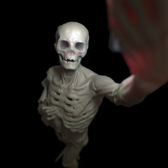 Skeleton makes selfie in the dark