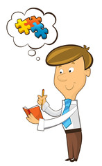 office cartoon clerk standing thinking and having idea - gathering pieces together - illustration for children