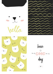 Hello set of cute cards with a white cat, vector background