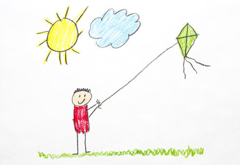 Kids Drawing Flying a Kite