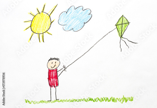 Kids Drawing Flying A Kite Stock Photo And Royalty Free Images On