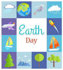 Earth Day Poster with Illustrations in Squares