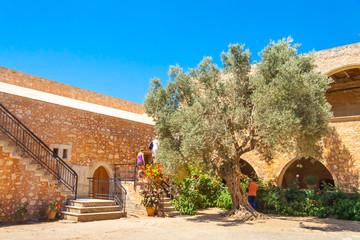 Inner garden of the Arkadi Monastery. Crete, Greece