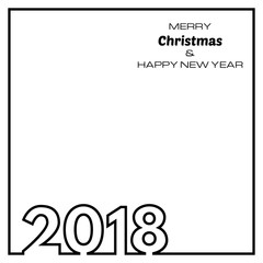 White Happy New Year 2018 Background. New Year and Xmas Design Element Template. Vector Illustration.