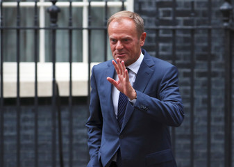 Donald Tusk, President of the European Council, leaves 10 Downing Street after meeting Britain's Prime Minister Theresa May, in London