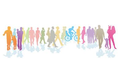 farbenfrohe Menschenmenge, und Personen