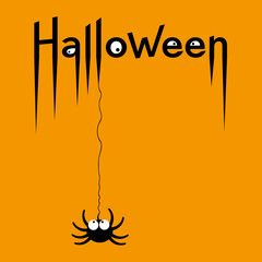 Happy Halloween card. Lettering of Happy Halloween with scary eyeballs and spider. Vector Illustration