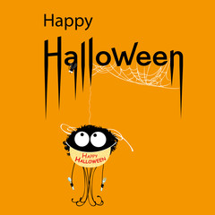 Happy Halloween card. Voracious spider in Happy Halloween apron. Vector Illustration