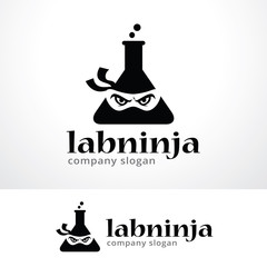 Lab Ninja Logo Template Design Vector, Emblem, Design Concept, Creative Symbol, Icon