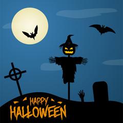 Happy Halloween Poster on Dark Moon Background