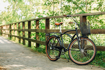 Pretty retro bicycle with busket in park.
