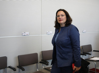 Social Democratic Party (SPD) party member Nahles attends first parliamentary meeting after general election in Berlin
