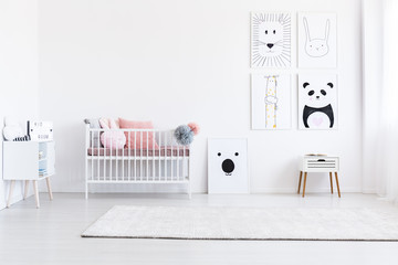 Drawings gallery in girl's bedroom