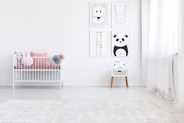 Panda drawing in girl's bedroom