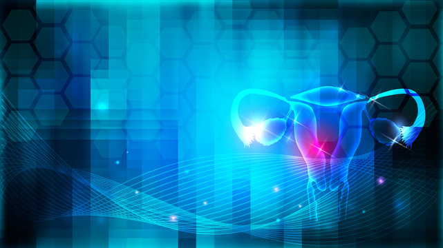 Female uterus and ovaries health care design on an abstract blue background