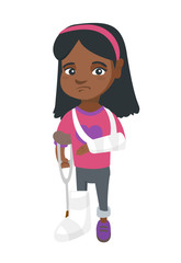 African-american sad injured girl with broken arm and leg in gypsum. Full length of upset injured little girl standing on crutches. Vector sketch cartoon illustration isolated on white background.
