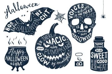 Vector set of Halloween posters with lettering