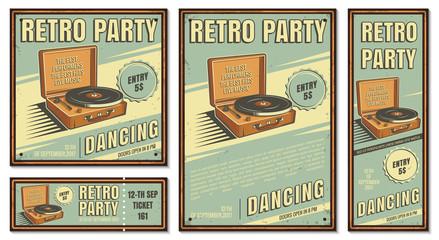Vintage banner, retro party.
