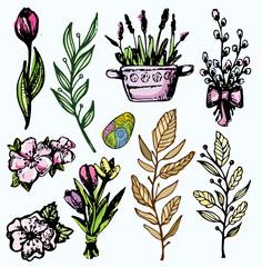 Hand drawn doodle easter set. Vector illustration.
