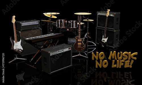 Music Equipment With 3d Quotes No Music No Life Stock Photo And