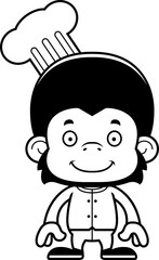 Cartoon Smiling Chef Chimpanzee