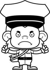 Cartoon Angry Mail Carrier Monkey