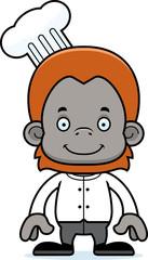 Cartoon Smiling Chef Orangutan