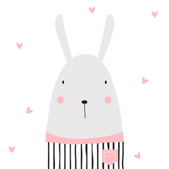 Cartoon funny bunny. Vector hand drawn illustration.
