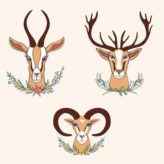 Decorative Gazelle, Deer, Ram graphic hand drawn vector cartoon doodle colorful illustration, wild animal with curved horns, floral bouquet isolated, mascot head, Character design for greeting card