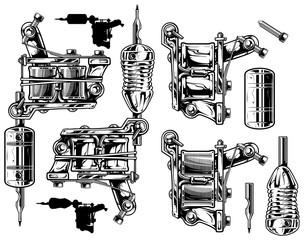 Graphic black and white tattoo machine set. Vol. 1