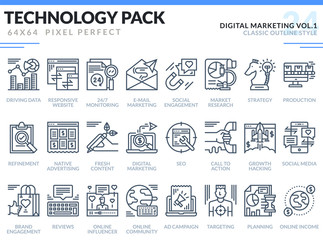 Digital Marketing Icons Set.  Technology outline icons pack. Pixel perfect thin line vector icons for web design and website application.