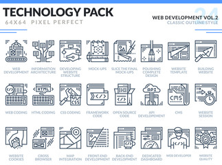 Web Development Icons Set. Editable Stroke. Technology outline icons pack. Pixel perfect thin line vector icons for web design and website application.